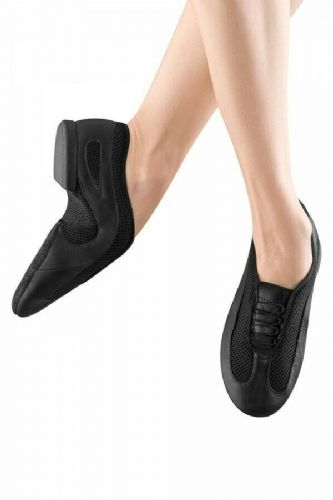 BLOCH Slipstream Leather Slip on Jazz Shoes Mesh Arch Velcro Close ES0485L Black